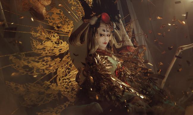 《阴阳师》姑获鸟金鸾鹤羽cos欣赏,真是一位华丽惊艳的姑姑